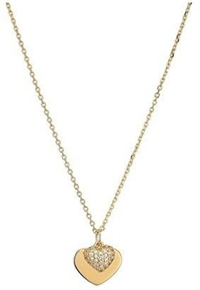 Michael Kors Precious Metal-Plated Sterling Silver Pave Heart Necklace (Gold) Necklace