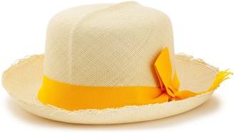 Sensi Frayed Bow-embellished Straw Sun Hat