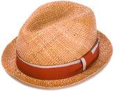 Paul Smith ribbon band fedora hat - men - Straw - S