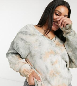 Skylar Rose Plus relaxed v-neck knitted jumper in tie-dye