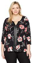 Calvin Klein Women's Plus Size 3/4 Sleeve Printed Top With Hardware