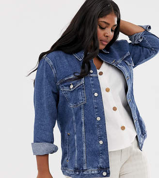 New Look Plus Curve denim jacket in mid blue