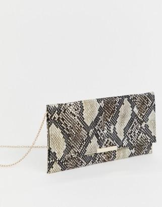 Accessorize Kelly snake print clutch bag-Multi