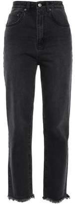 Ksubi Embroidered Distressed High-rise Straight-leg Jeans