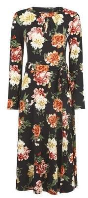 Dorothy Perkins Womens Floral Keyhole Midi Dress
