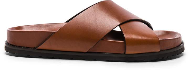 Saint Laurent Leather Jimmy Cross Strap Slides