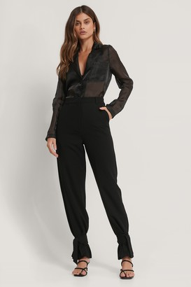 Basma & Merna X NA-KD High Waist Tie Suit Pants