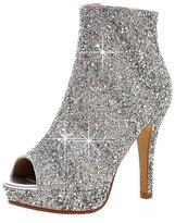 ENMAYER Women's PU Soft Material High Heels Peep Toe Summer Boots 7 B(M) US