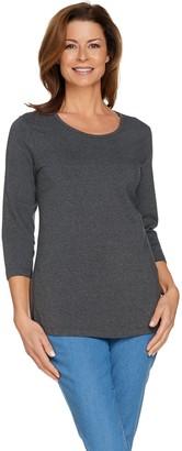 Denim & Co. Essentials 3/4 Sleeve Scoop Neck Top