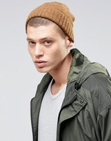 Asos Lambswool Stitch Fisherman Beanie In Mustard