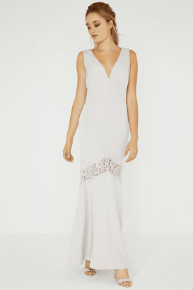 Little Mistress Abbie Lilac Plunge Maxi Dress With Lace Insert