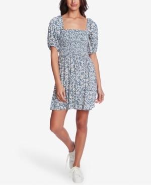1 STATE Smocked Floral-Print Mini Dress