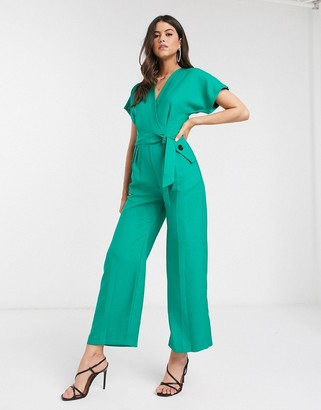 Closet London Closet wrap jumpsuit with kimono sleeve in green