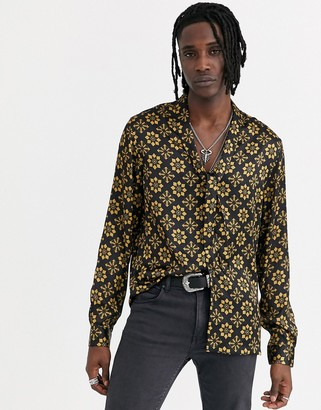 ASOS DESIGN regular fit geo shirt with pussy bow tie