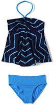 Classic Girls Slim Bandeau Tankini Swimsuit Set-Deep Sea Chevron