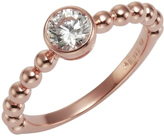 Celesta ZEEme Silver Women's Ring 925 Sterling Silver Partially Gold-Plated with White Zirconia Brilliance 2742700402 pink