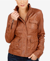 Lucky Brand Leather Utility Jacket