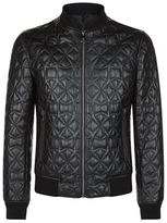 Versace Collection Quilted Leather Bomber Jacket