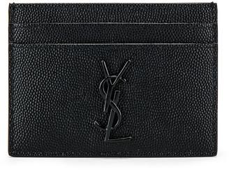 Saint Laurent Monogram Credit Card Holder in Black | FWRD