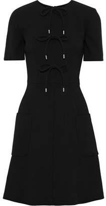 Lela Rose Bow-detailed Stretch-wool Crepe Mini Dress
