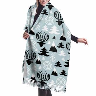 Gong Christmas Winter Wonderland Reindeer Blue Shawl Wrap Winter Warm Scarf Cape Large Soft Cozy Cashmere Scarf Wrap Womans Warm Shawl Stole
