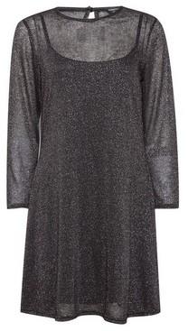 Dorothy Perkins Womens Black Glitter Mesh Swing Dress