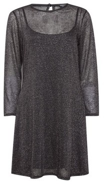 Dorothy Perkins Womens Black Glitter Mesh Swing Dress