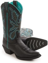"""Justin Boots Black Deercow Cowboy Boots - 12"""", Snip Toe (For Women)"""