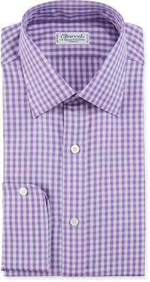Charvet Men's Gingham Plaid Cotton Dress Shirt