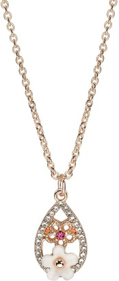 Lauren Conrad Simulated Pearl & Simulated Crystal Floral Teardrop Pendant Necklace