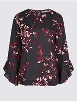 Classic Floral Print Slash Neck 3/4 Sleeve Blouse