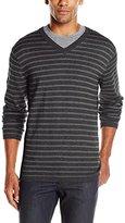 DKNY Men's Long Sleeve Solid Marl Stripe V-Neck Sweater