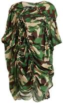 Junya Watanabe Gathered-detail camouflage-print woven dress