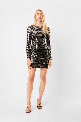 French Connenction Ebba Tiger Sequin Long Sleeve Mini Dress