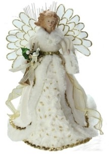 "Northlight 14"" Lighted Fiber Optic Angel in Cream and Gold Gown Christmas Tree Topper"