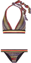 Missoni Crochet-knit Halterneck Bikini - Dark purple