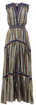 Peter Pilotto Striped Tiered Tulle Dress - Womens - Blue Gold