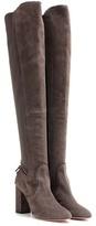 Aquazzura Dasha 85 Suede And Fabric Over-the-knee Boots