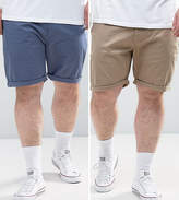 Asos PLUS 2 Pack Slim Chino Shorts In Stone & Blue SAVE