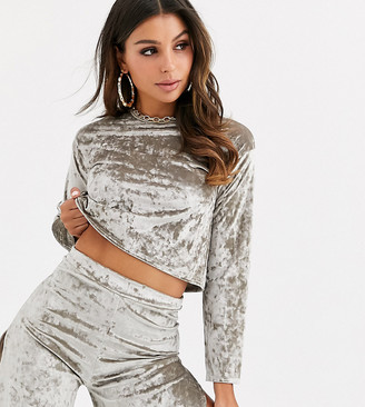 Fashionkilla crushed velvet crop top in shadow grey