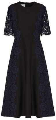 Valentino Lace Crepe Midi Dress
