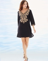 Soma Intimates Embroidered Cotton Tunic Swim Cover Up Black