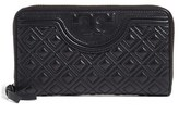 Tory Burch Women's 'Fleming' Quilted Lambskin Leather Continental Wallet - Black