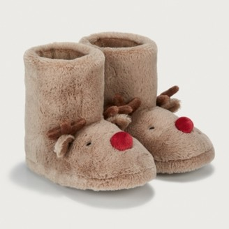 The White Company Children's Reindeer Slipper Boots, Brown, 6/7