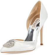 Badgley Mischka Rylee Crystal Satin Pump, White