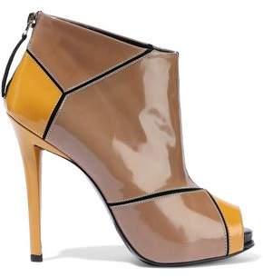 Roger Vivier Paneled Patent-leather Platform Ankle Boots