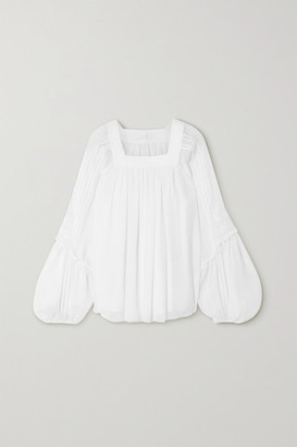 Chloé Embroidered Pleated Silk-crepon Blouse - White