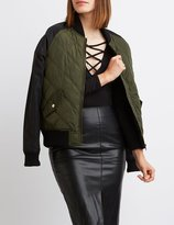 Charlotte Russe Quilted Colorblock Bomber Jacket