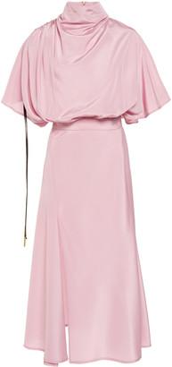 Ellery Mytilene Draped Cape-Effect Satin Midi Dress