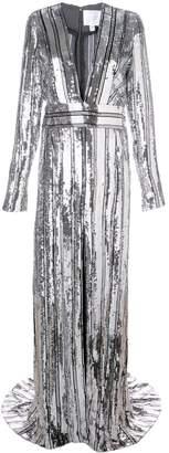 Galvan sequin floor-length evening gown